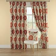 Red 'Annoushka' lined curtains with pencil heading