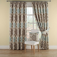 Montgomery - Teal 'Annoushka' lined curtains with pencil heading