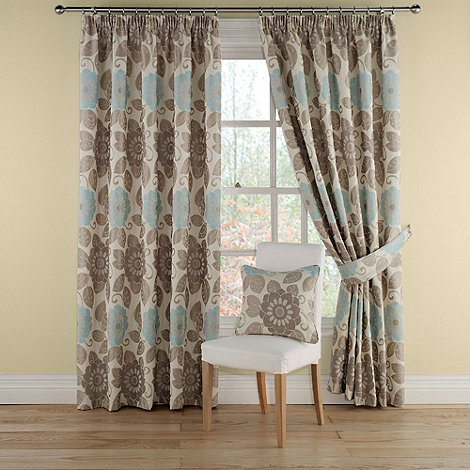 Montgomery - Teal +Annoushka+ lined curtains with pencil heading