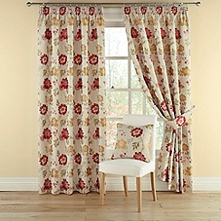 Montgomery - Red 'Forget Me Not' lined curtains with pencil heading
