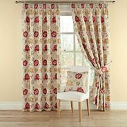 Red 'Forget Me Not' lined curtains with pencil heading
