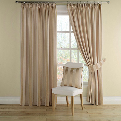 Montgomery - Gold +Realm Stripe+ lined curtains with pencil heading