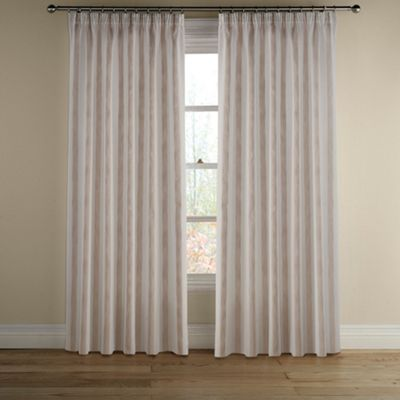 Montgomery Natural Avon Stripe lined curtains with pencil