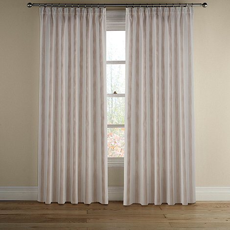 Montgomery - Natural +Avon Stripe+ lined curtains with pencil heading