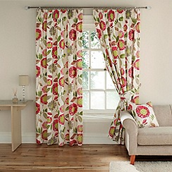 Montgomery - Red 'Rivoli' fully lined curtains with pencil heading