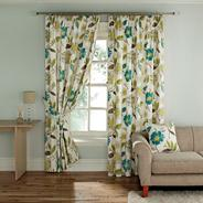 Turquoise 'Rivoli' fully lined curtains with pencil heading