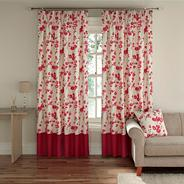 Red 'Wasabi' fully lined curtains with pencil heading