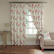 Pink'Cherry Blossom' fully lined curtains with pencil heading