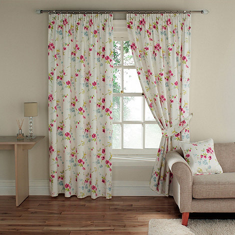 Montgomery - Pink+Cherry Blossom+ fully lined curtains with pencil heading
