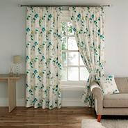 Turquouise 'Cherry Blossom' fully lined curtains with pencil heading