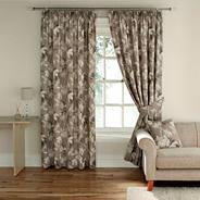 Linen 'Catkin' fully lined curtains with pencil heading