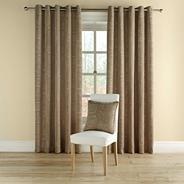 Taupe 'Doodle' fully lined curtains with eyelet heading