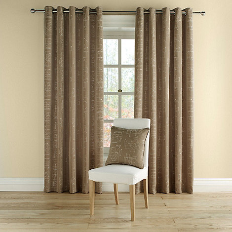 Montgomery - Taupe +Doodle+ fully lined curtains with eyelet heading