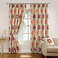 Montgomery - Raspberry 'Sunflower' Fully Lined Pencil Pleat Curtains