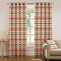Montgomery - Coral 'Candy Stripe' Fully Lined Eyelet Curtains