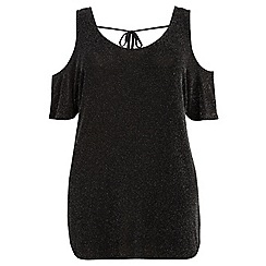 Dorothy Perkins - Dp curve black and silver sparkle cold shoulder t-shirt