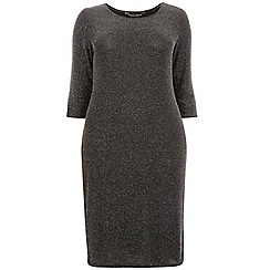 Dorothy Perkins - Curve black and silver bodycon dress