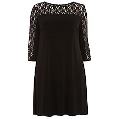 Dorothy Perkins - Curve black lace yoke swing dress