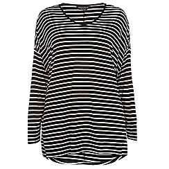 Dorothy Perkins - Curve black and white stripe extreme dip back t-shirt