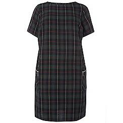 Dorothy Perkins - Green curve check zip shift dress
