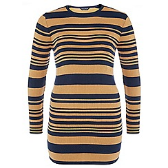 Dorothy Perkins - Dp curve camel and navy stripe ribbed tunic
