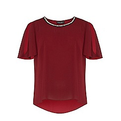 Dorothy Perkins - Dp curve berry embellished split sleeve top