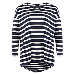 Dorothy Perkins - Dp curve navy and white stripe dip back t-shirt