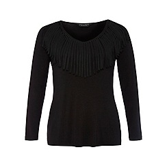Dorothy Perkins - Dp curve black v-neck fringe top