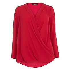 Dorothy Perkins - Curve pink v-neck wrap top