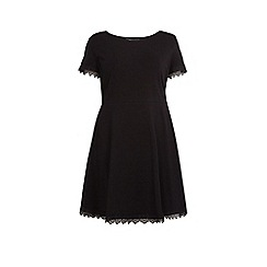 Dorothy Perkins - Curve black lace trim fit and flare dress