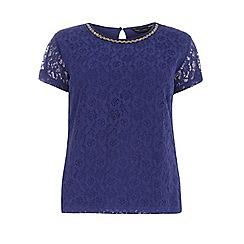 Dorothy Perkins - Curve cobalt embellished lace t-shirt