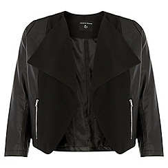 Dorothy Perkins - Dp curve black pu waterfall jacket