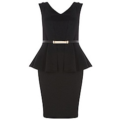Dorothy Perkins - Dp curve black peplum dress with belt