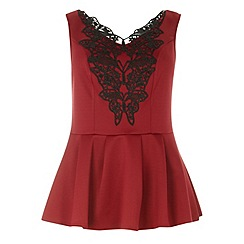 Dorothy Perkins - Dp curve berry lace trim detail top