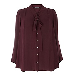Dorothy Perkins - Dp curve wine long sleeved pussybow blouse