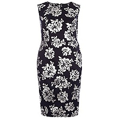 Dorothy Perkins - Curve navy and silver pencil dress