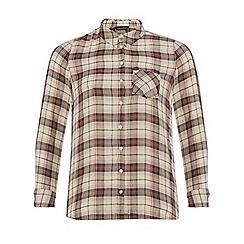 Dorothy Perkins - Dp curve ivory and wine check shirt