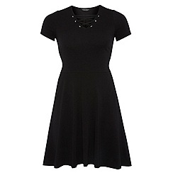 Dorothy Perkins - Dp curve black lace-up fit and flare dress