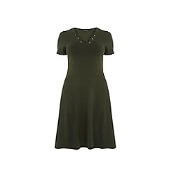 Dorothy Perkins - Curve moss green lace-up fit and flare dress