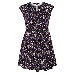 Dorothy Perkins - Dp curve wine ditsy belted fit and flare dress