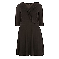 Dorothy Perkins - Curve black frill front wrap dress