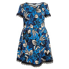 Dorothy Perkins - Curve cobalt floral lace trim dress