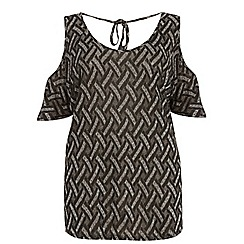 Dorothy Perkins - Curve zig zag cold shoulder t-shirt