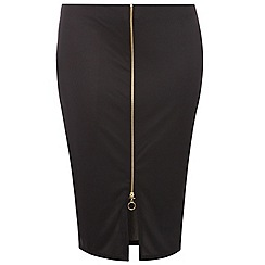 Dorothy Perkins - Curve black zip front pencil skirt