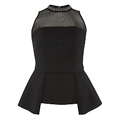 Dorothy Perkins - Dp curve black embellished neck top