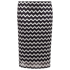 Dorothy Perkins - Curve navy and silver zig zag skirt