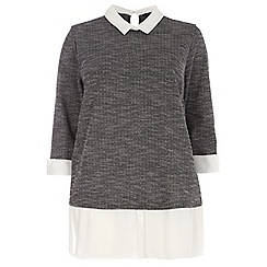 Dorothy Perkins - Curve grey and white 2-in-1 shirt top