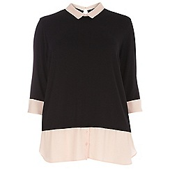 Dorothy Perkins - Curve black and blush 2-in-1 shirt top