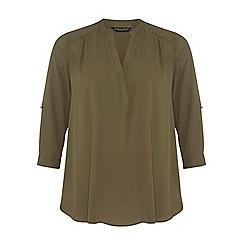 Dorothy Perkins - Dp curve khaki rollsleeve blouse