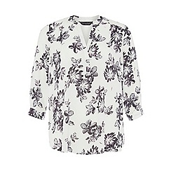 Dorothy Perkins - Dp curve ivory floral rollsleeve blouse